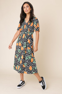 Black Floral Print Shirred Elastic Front Flared Sleeve Midi Dress