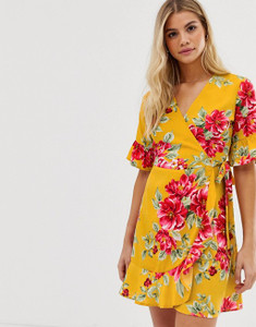 Yellow Floral Print Wrap Frill Hem Mini Dress