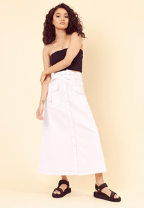 Contrast Stitch Utility Belted Maxi Skirt
