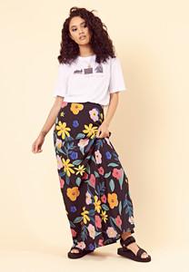 Retro Floral Bias Cut Maxi Skirt