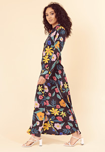 Retro Floral Maxi Shirt Dress