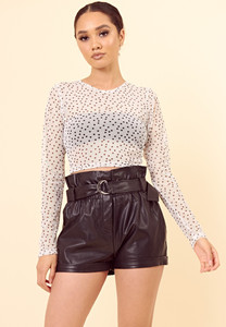 White Black Polka Dot Long Sleeve Mesh Crop Top