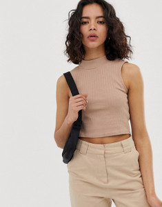 High Neck Sleeveless Racer Crop Top