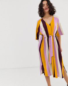 Tie Waist Stripe V Neck Midi Dress
