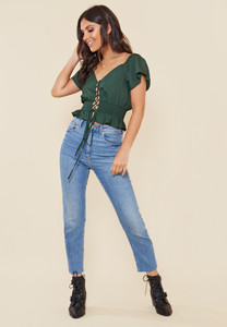 Bottle Green Lace Up Shirred Waist Milkmaid Top