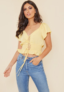Lemon Yellow Lace Up Shirred Waist Milkmaid Top
