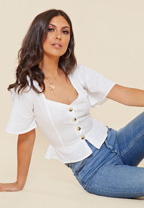 White Cotton Sweetheart Neck Button Down Top