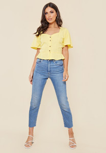 Yellow Cotton Sweetheart Neck Button Down Top