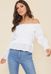 White Cotton Bardot Top with Shirred Puff Sleeve