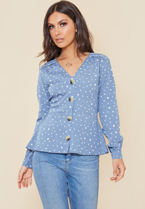 Blue and White Splodge Print Button Front Tea Blouse