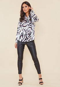 Satin Abstract Animal Print Oversized Shirt