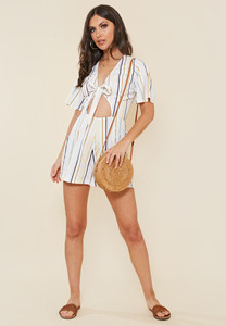 Multi Stripe Tie Front Cut Out Detail Playsuit