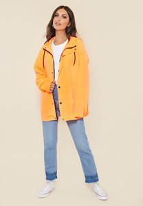Neon Orange Waterproof Oversized Jacket