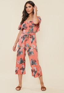 Coral Tropical Print Bardot Frill Culotte Jumpsuit