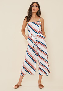 Multi Chevron Stripe Strappy Culotte Jumpsuit