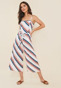Multi Chevron Stripe Strappy Culotte Jumpsuit