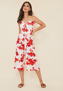 Red Floral Print Shirred Bandeau Culotte Jumpsuit