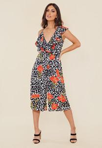 Black Floral Splodge Print Asymmetric Strap Culotte Jumpsuit