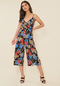 Black Tropical Print Strappy Frill Wrap Front Culotte Jumpsuit