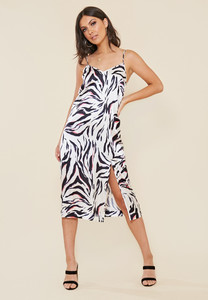 Satin Zebra Print Midi Slip Dress with Front Splits