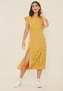 Mustard Ditsy Floral Print Split Front Midi Dress with Back Detail