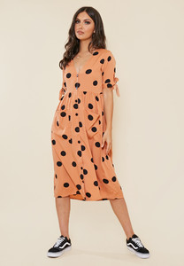 Rust Black Spot Midi Smock Dress with Front Pockets