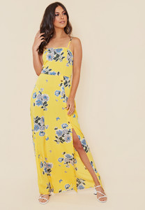 Yellow Floral Mock Horn Button Detail Strappy Cami Maxi Dress