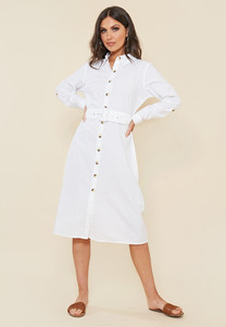 White Cotton Mock Horn Button Belted Midi Shirt Dress