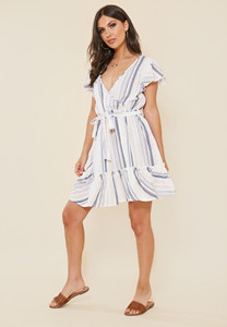 Pastel Stripe Cotton Wrap Frill Hem Summer Dress