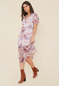 Paisley Print Sheer Puff Sleeve Button Down Midi Dress