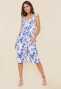 White and Blue Floral Print Button Down Midi Dress