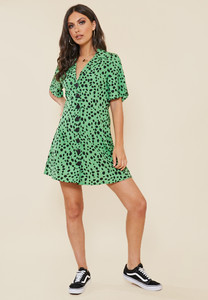 Green Dalmatian Print Button Down Shirt Dress