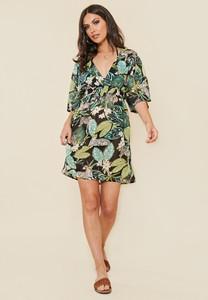 Green Tropical Print Shirred Waist Beach Dress