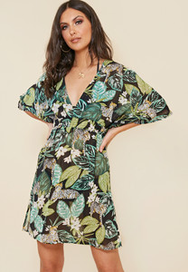 Green Tropical Print Shirred Waist Beach Dress