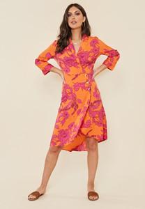 Silhouette Floral Print Side Button Midi Dress