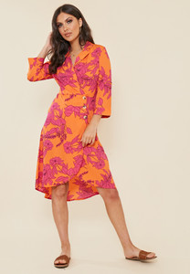 Silhouette Floral Print Side Button Midi Dress