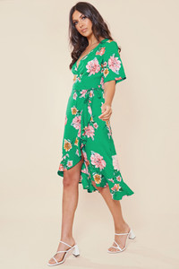 Green Floral Print Wrap Frill Hem Midi Dress