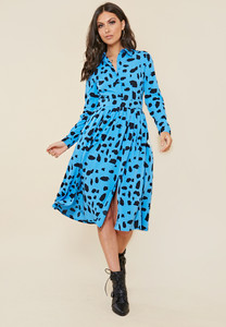 Blue Animal Print Midi Shirt Dress With Pleated Skirt and Splits