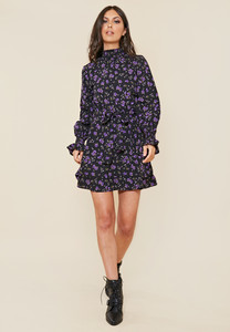 Black Ditsy Floral High Shirred Neck and Cuff Skater Dress