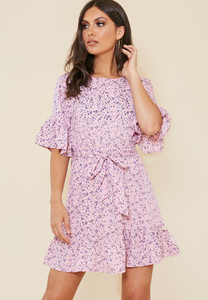Pink Ditsy Floral Ruffle Hem Waist Belted Mini Dress