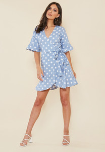 Blue and White Spot Wrap Frill Hem Mini Dress