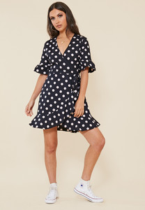 Black and White Spot Wrap Frill Hem Mini Dress