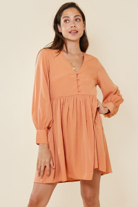 Apricot Button Detail Smock Dress