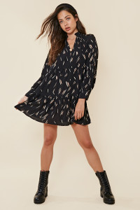 Black Abstract Print Tiered Smock Dress