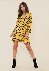 Mustard Dalmatian Print Wrap Dress With Frill And Fluted Sleeve