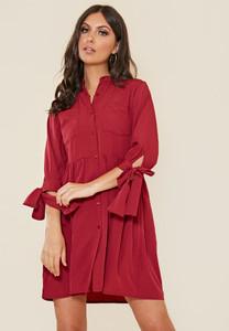Granddad Collar Smock Style Shirt Dress