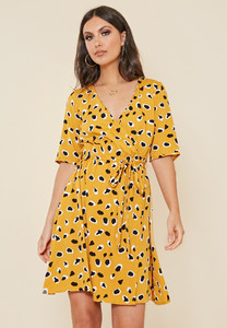 Mustard Dalmatian Animal Print Wrap Frill Dress