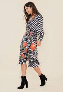 Mix and Match Print Frill Hem Wrap Midi Dress