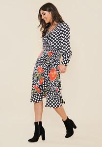 Mix and Match Print Frill Hem Wrap Midi Dress