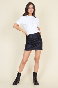 Black Matt Pu Mini Skirt